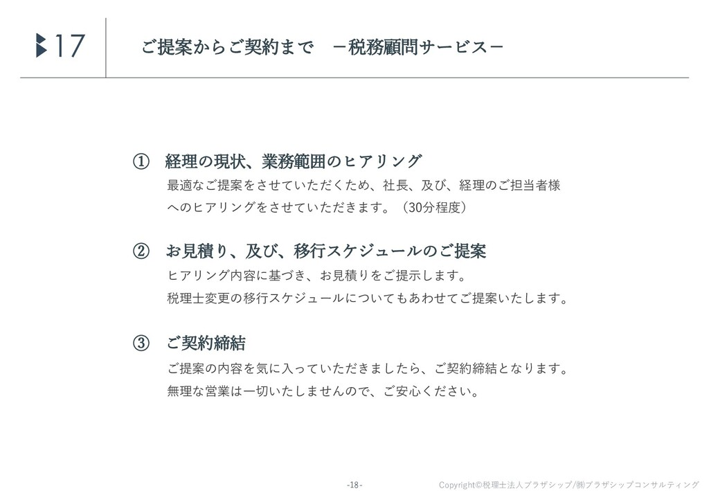 Copyright©税理士法人ブラザシップ/㈱ブラザシップコンサルティング -18- ご提案か...