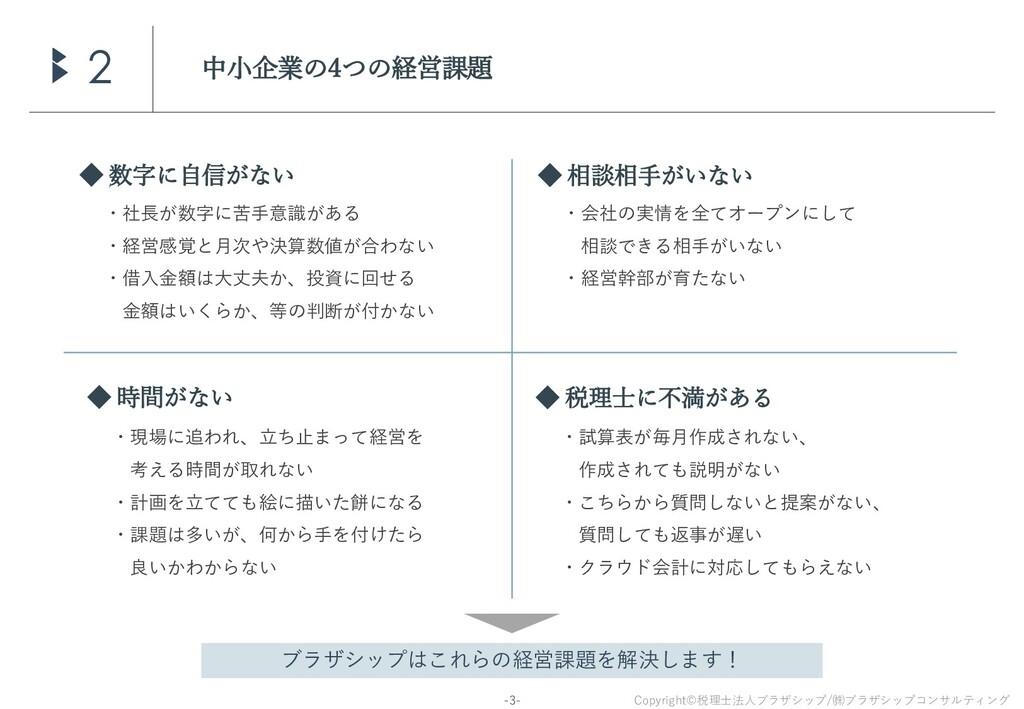 Copyright©税理士法人ブラザシップ/㈱ブラザシップコンサルティング -3- 中小企業の...