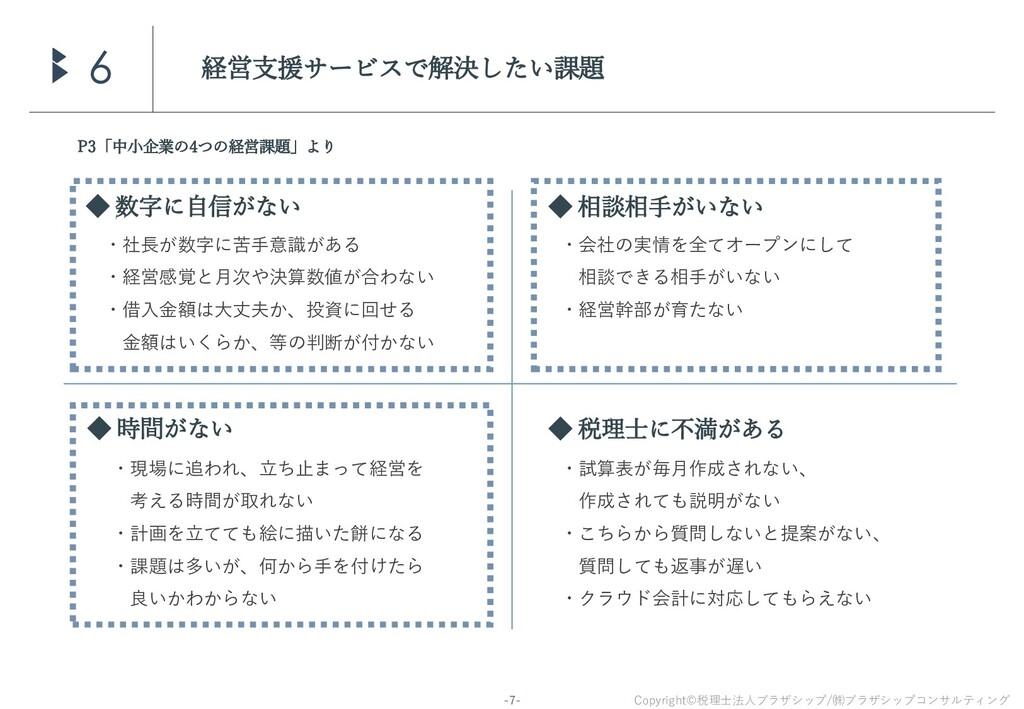 Copyright©税理士法人ブラザシップ/㈱ブラザシップコンサルティング -7- 経営支援サ...