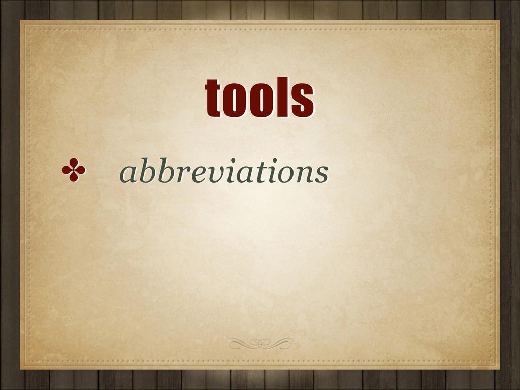 tools ✤ abbreviations