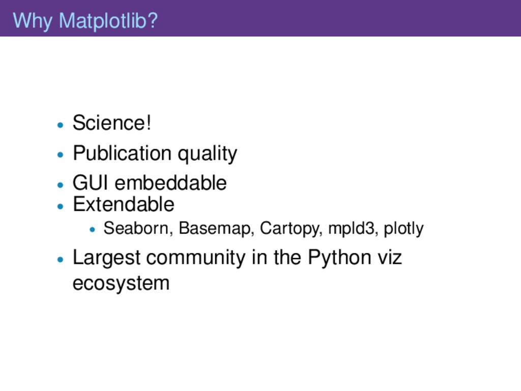 Why Matplotlib? • Science! • Publication qualit...