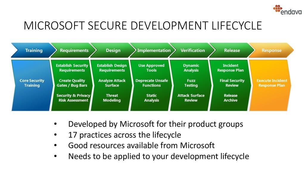 MICROSOFT SECURE DEVELOPMENT LIFECYCLE • Develo...