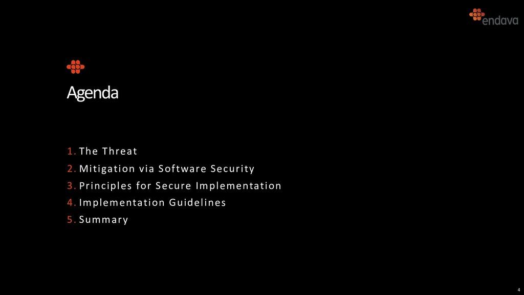 4 Agenda 1. The Threat 2. Mitigation via Softwa...