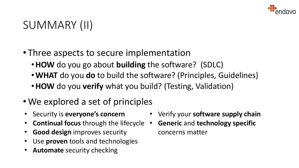 SUMMARY (II) • Three aspects to secure implemen...