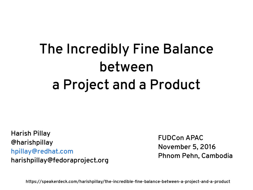The Incredibly Fine Balance between a Project a...