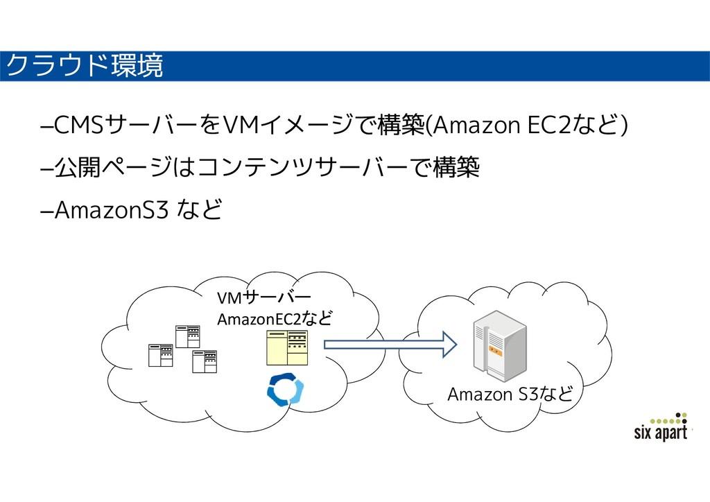 クラウド環境 –CMSサーバーをVMイメージで構築(Amazon EC2など) –公開ページは...