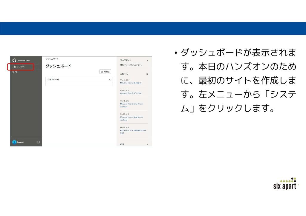 • ダッシュボードが表示されま す。本日のハンズオンのため に、最初のサイトを作成しま す。左...