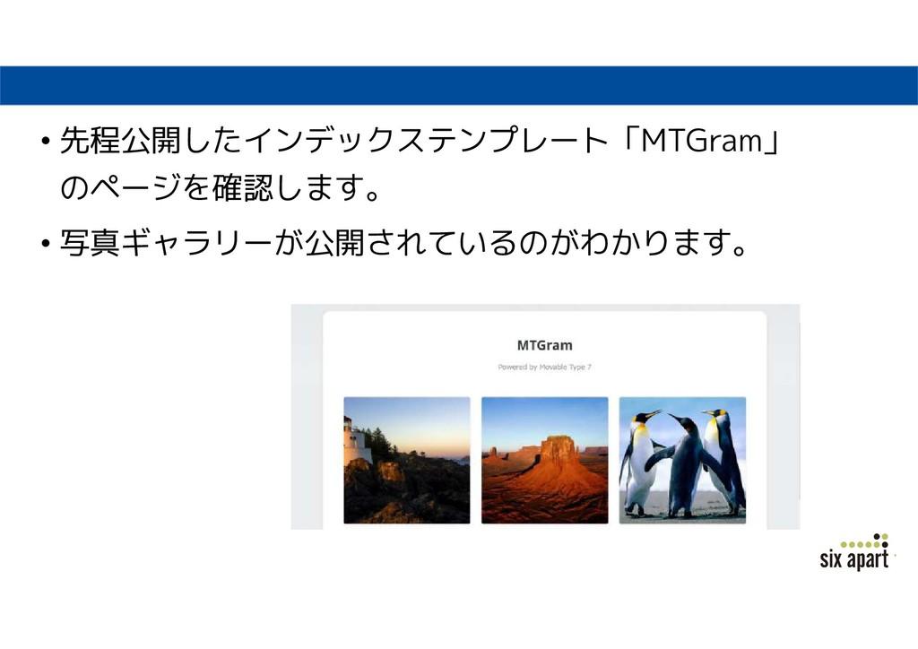 • 先程公開したインデックステンプレート「MTGram」 のページを確認します。 • 写真ギャ...