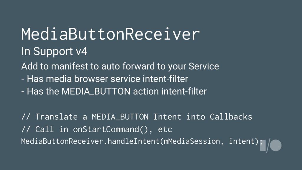 MediaButtonReceiver In Support v4 Add to manife...