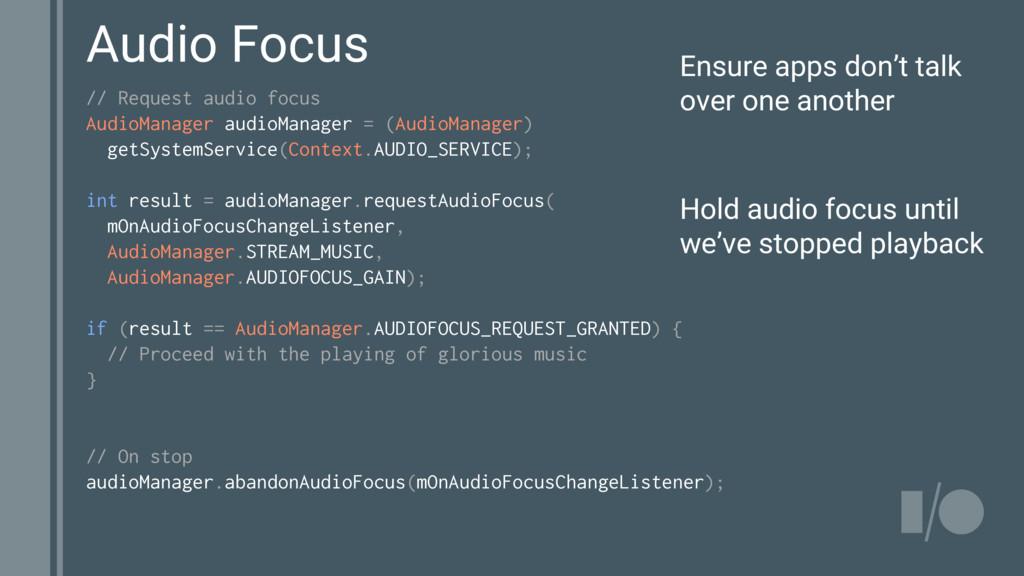 // Request audio focus AudioManager audioManage...
