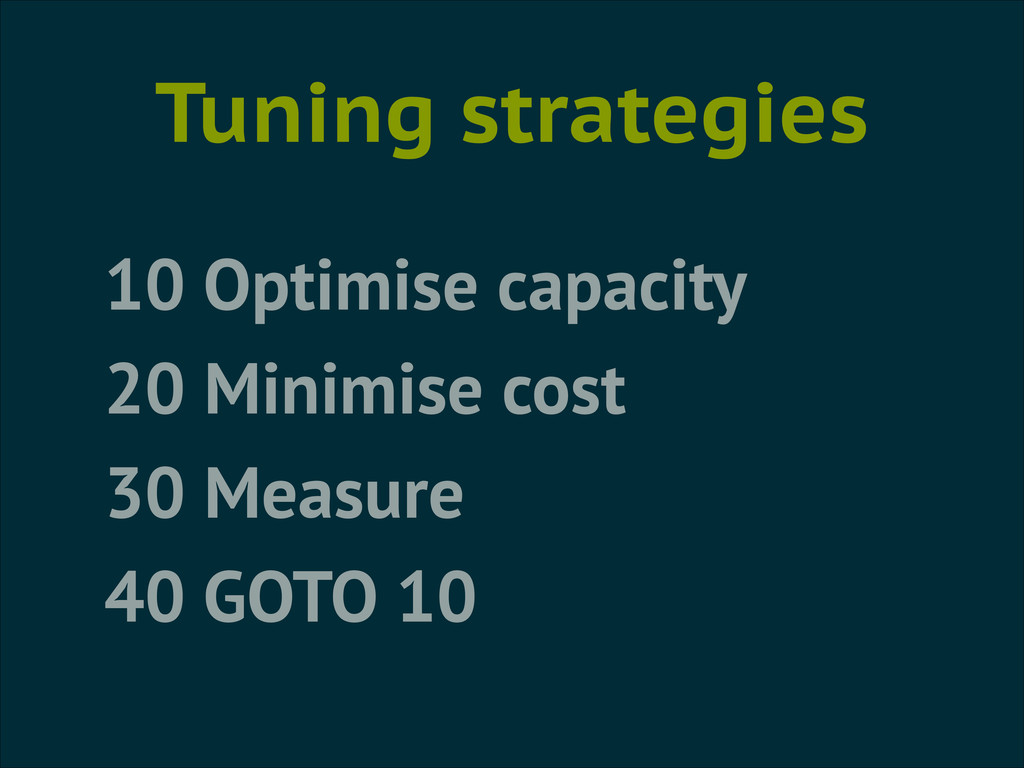 Tuning strategies 10 Optimise capacity 20 Minim...