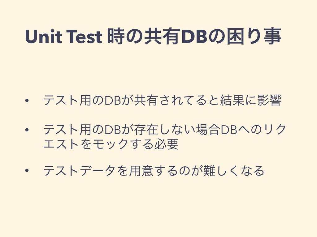 Unit Test ͷڞ༗DBͷࠔΓ • ςετ༻ͷDB͕ڞ༗͞ΕͯΔͱ݁ՌʹӨڹ • ς...