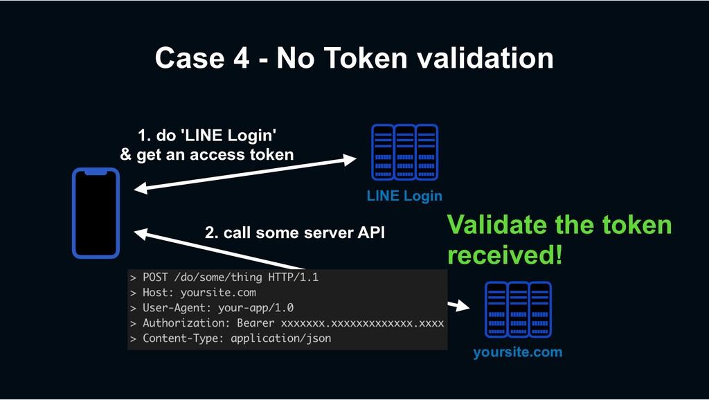 Case 4 - No Token validation 2. call some serve...