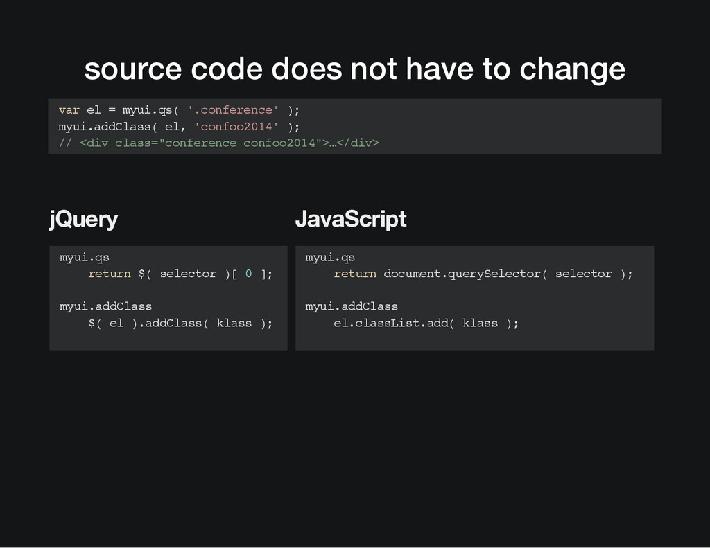 source code does not have to change jQuery Java...