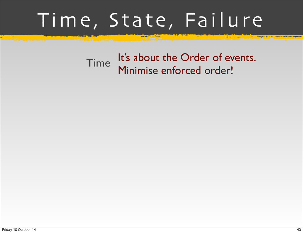 Time, State, Failure It's about the Order of ev...