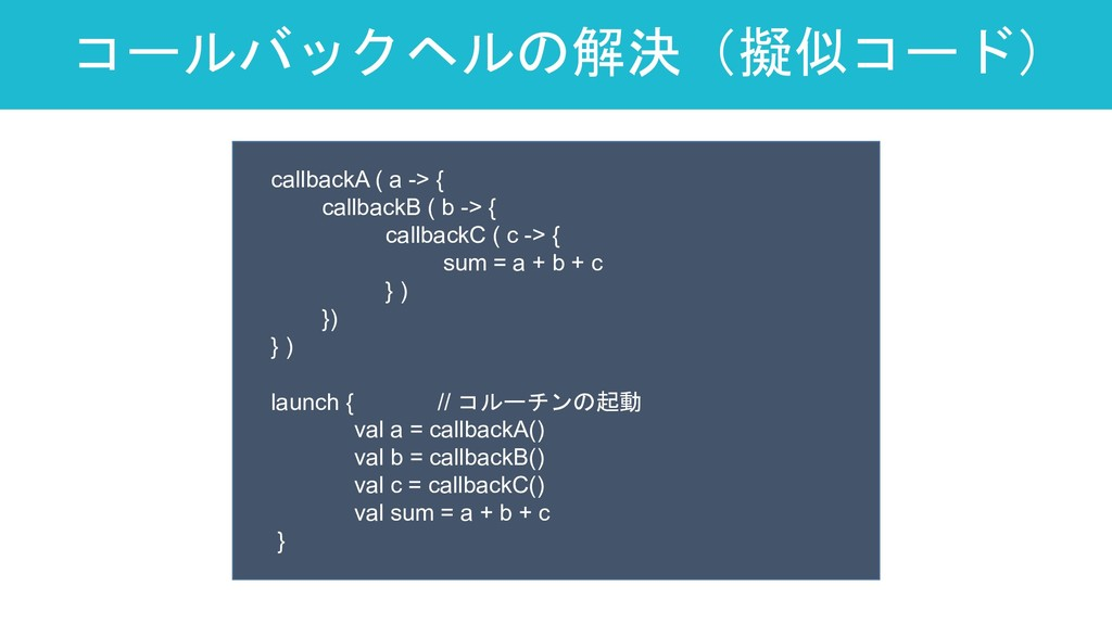 コールバックヘルの解決(擬似コード) 19 callbackA ( a -> { callba...