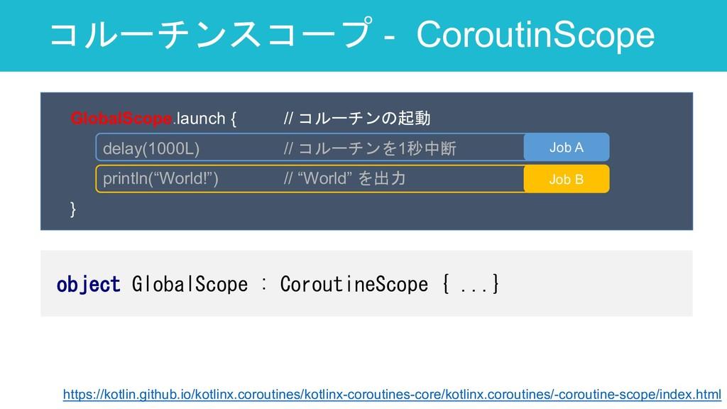 コルーチンスコープ - CoroutinScope 23 GlobalScope.launch...