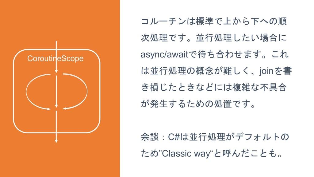 42 コルーチンは標準で上から下への順 次処理です。並行処理したい場合に async/awai...
