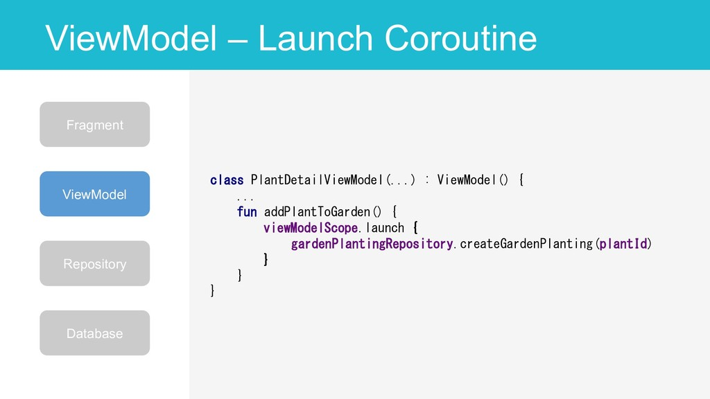 ViewModel – Launch Coroutine 56 class PlantDeta...