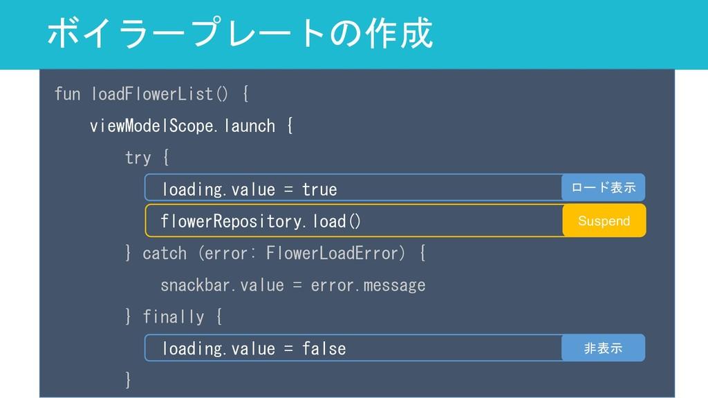 ボイラープレートの作成 62 fun loadFlowerList() { viewModel...