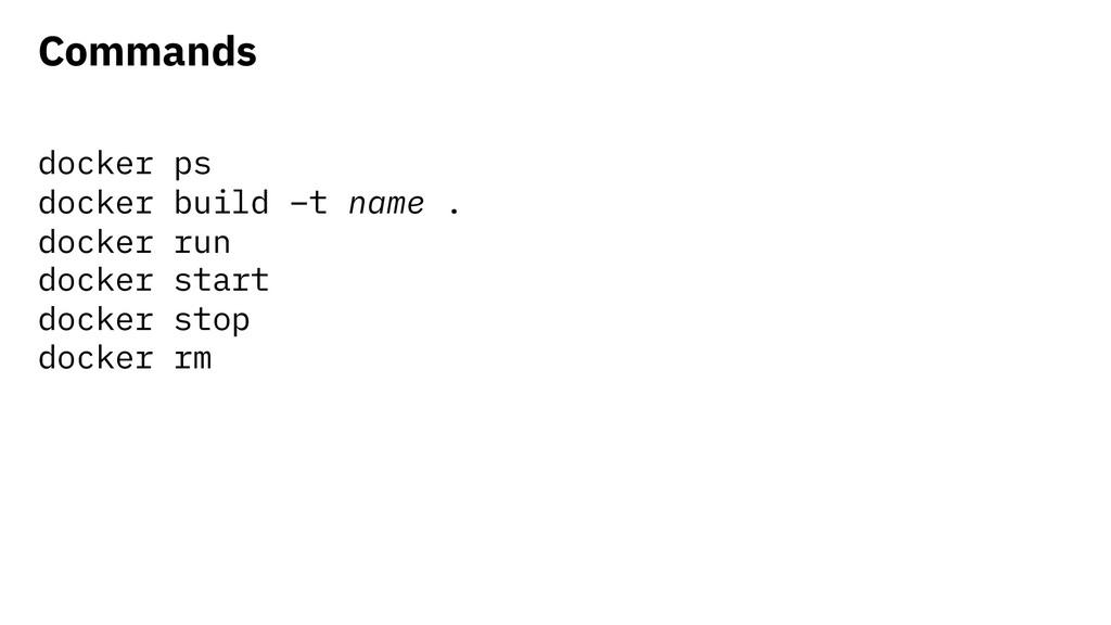 Commands docker ps docker build –t name . docke...