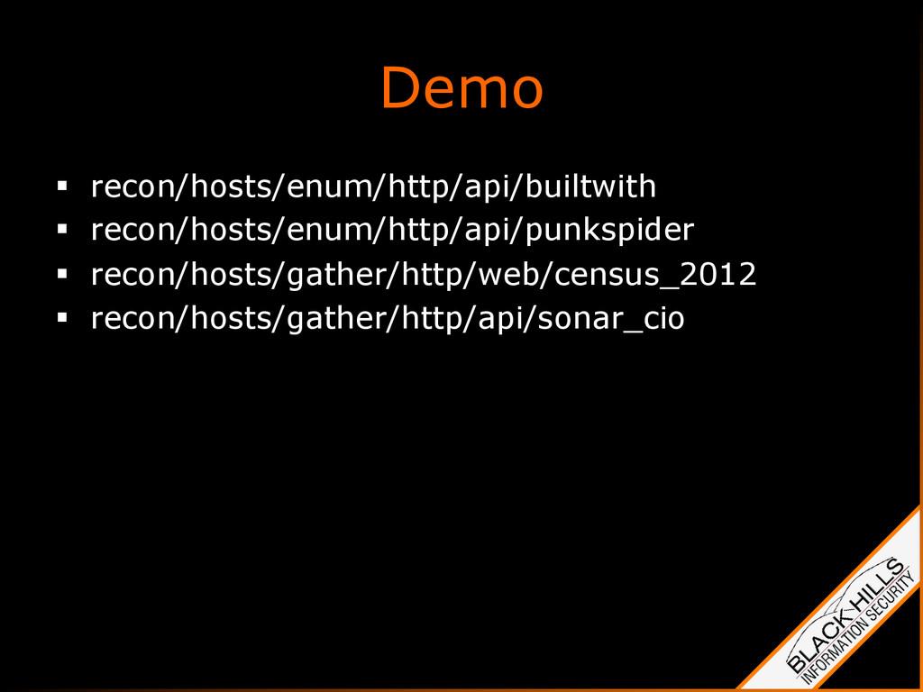Demo § recon/hosts/enum/http/api/builtwith §...