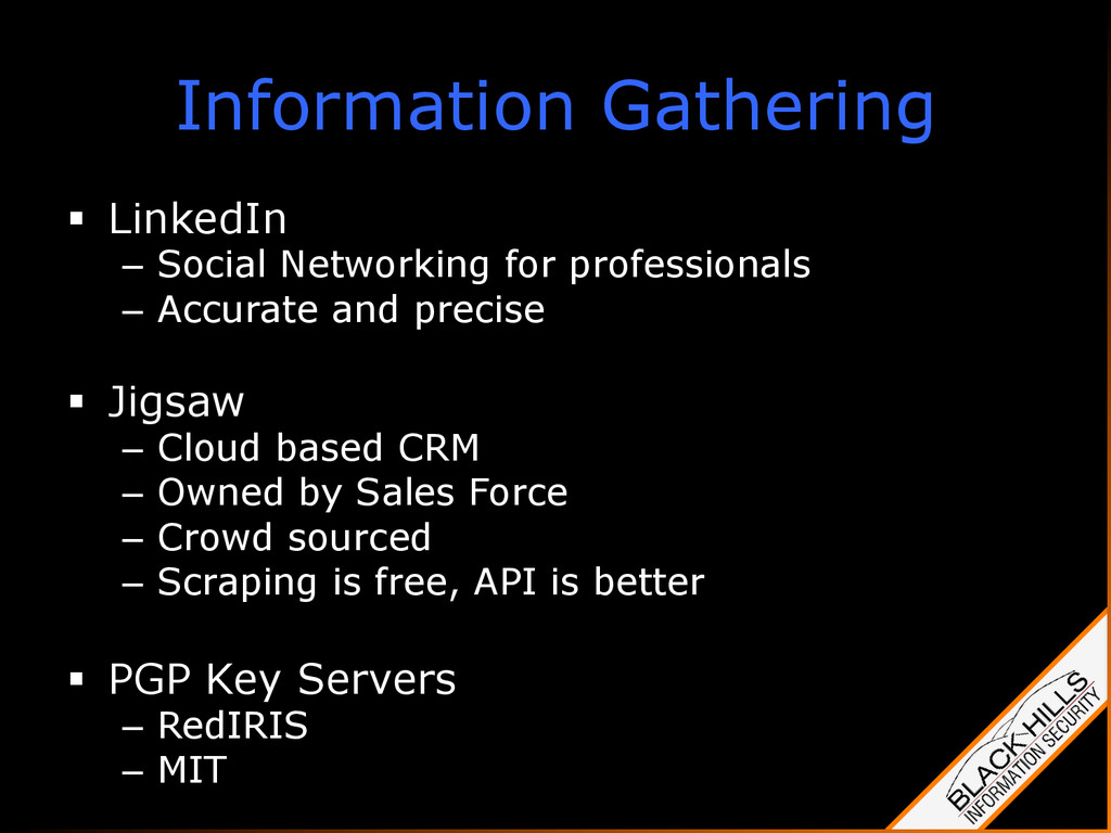 Information Gathering § LinkedIn – Social Ne...