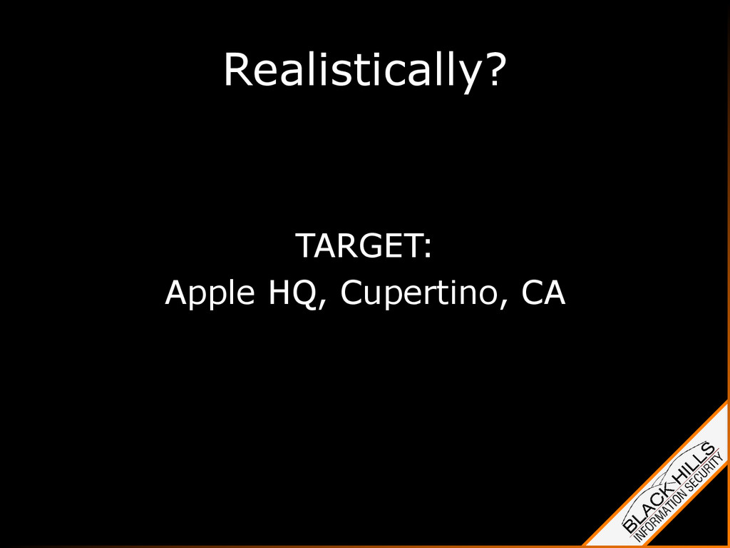 Realistically? TARGET: Apple HQ, Cupertino, CA