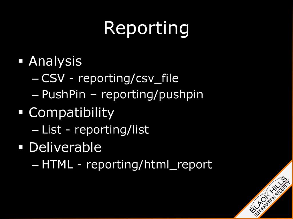 Reporting § Analysis –CSV - reporting/csv_fi...