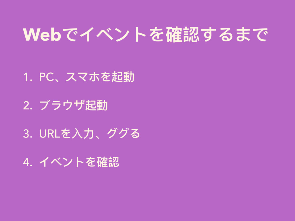 Webでイベントを確認するまで 1. PC、スマホを起動 2. ブラウザ起動 3. URLを⼊...