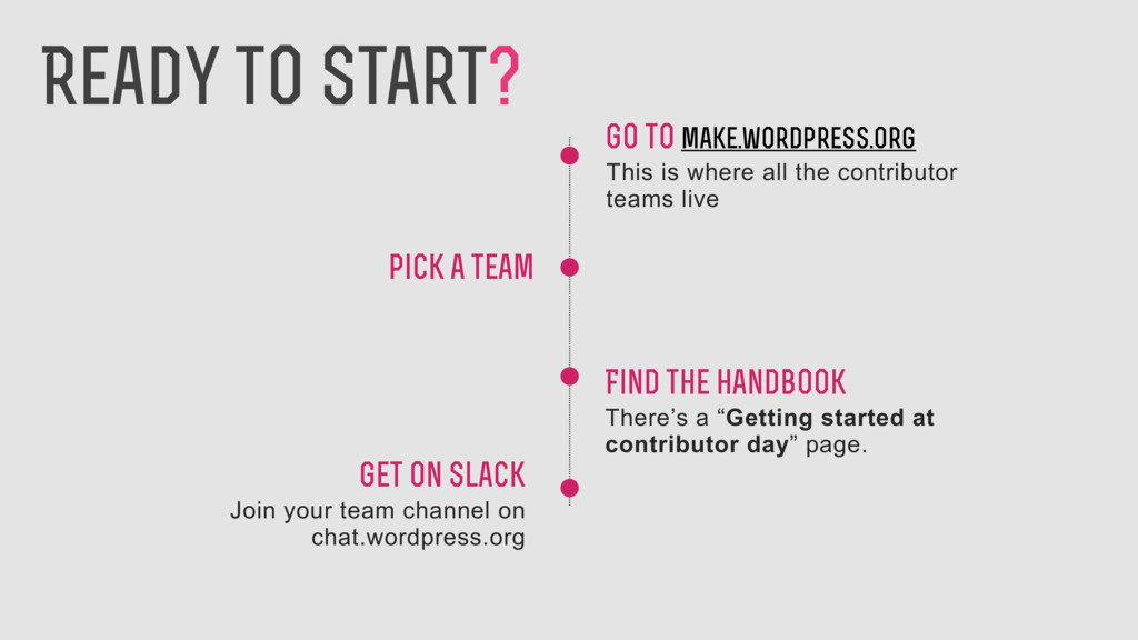 pick a team Go to make.wordpress.org This is wh...