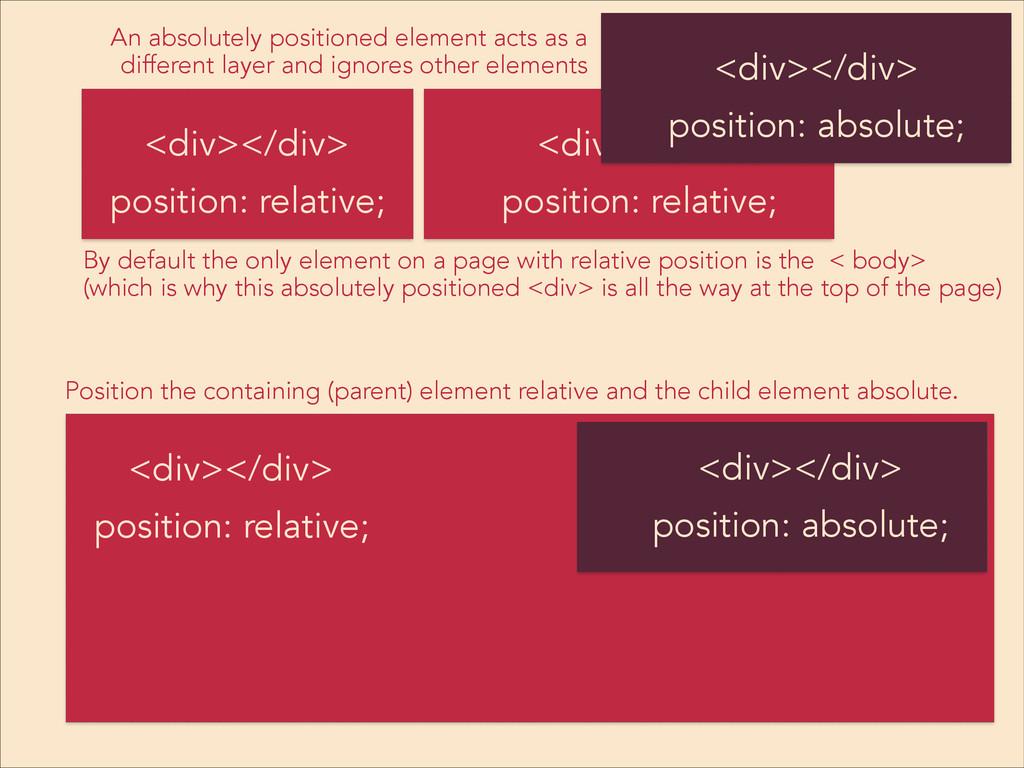 <div></div> position: relative; <div></div> <di...
