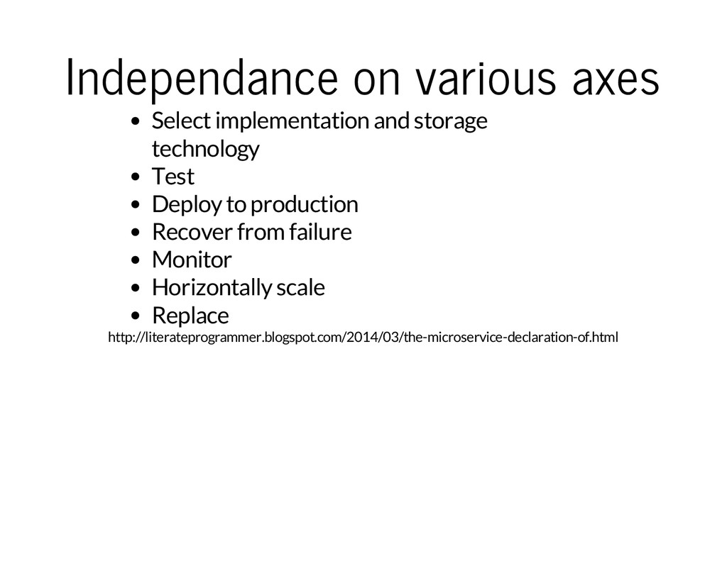 Independance on various axes Select implementat...
