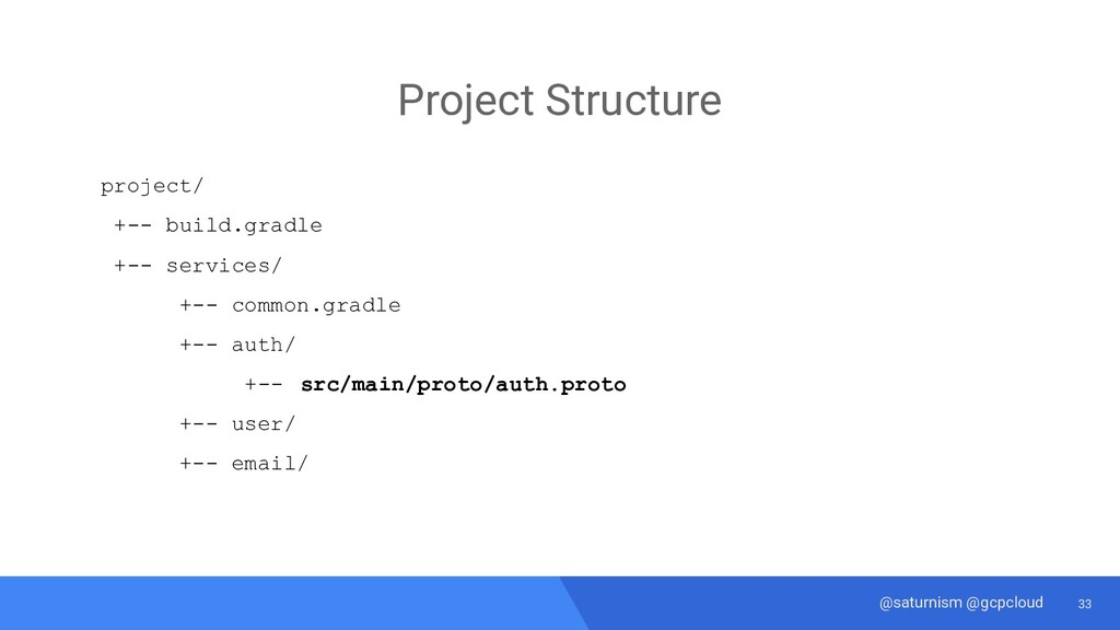 33 @saturnism @gcpcloud gRPC From .proto → Java...