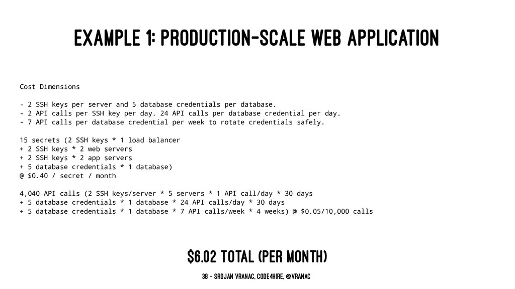 EXAMPLE 1: PRODUCTION-SCALE WEB APPLICATION Cos...