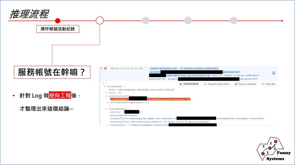 推理流程 操作帳號活動紀錄 • 針對 Log 做逆向工程後, 才整理出來這個結論‧‧‧ 服務帳...