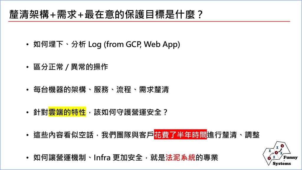釐清架構+需求+最在意的保護目標是什麼? • 如何埋下、分析 Log (from GCP, W...