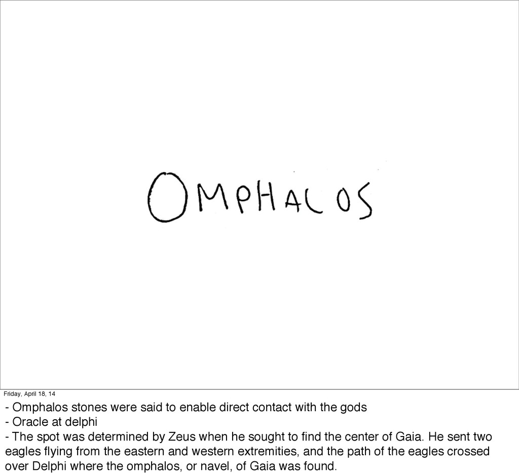 Friday, April 18, 14 - Omphalos stones were sai...