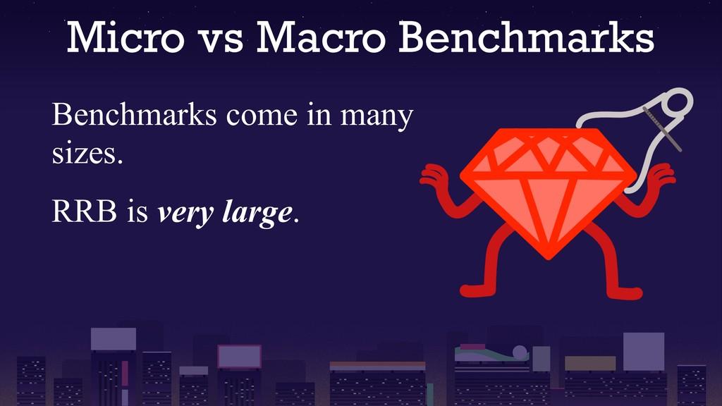 Micro vs Macro Benchmarks Benchmarks come in ma...