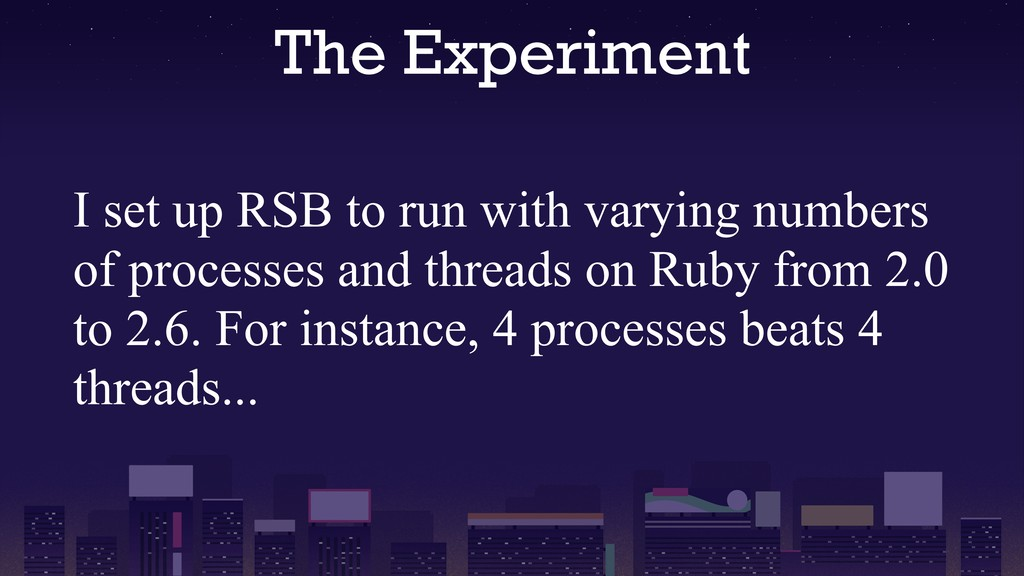The Experiment I set up RSB to run with varying...