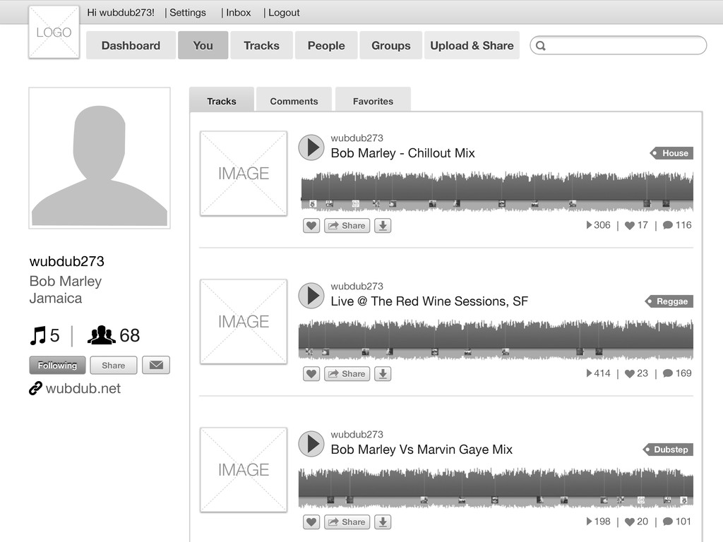 Favorites Comments Tracks wubdub273 Bob Marley ...