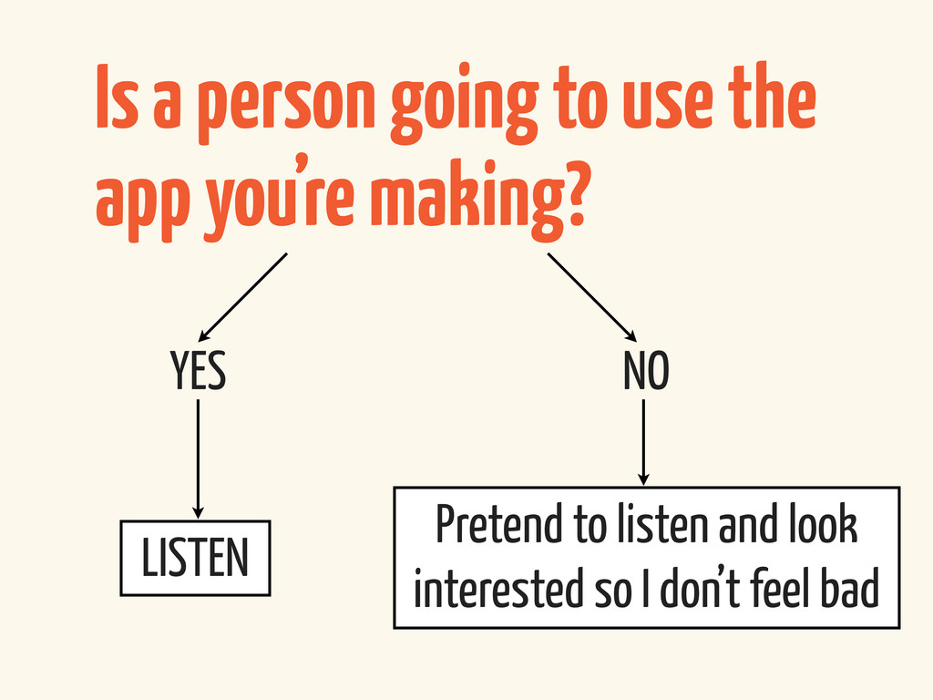 Is a person going to use the app you're making?...