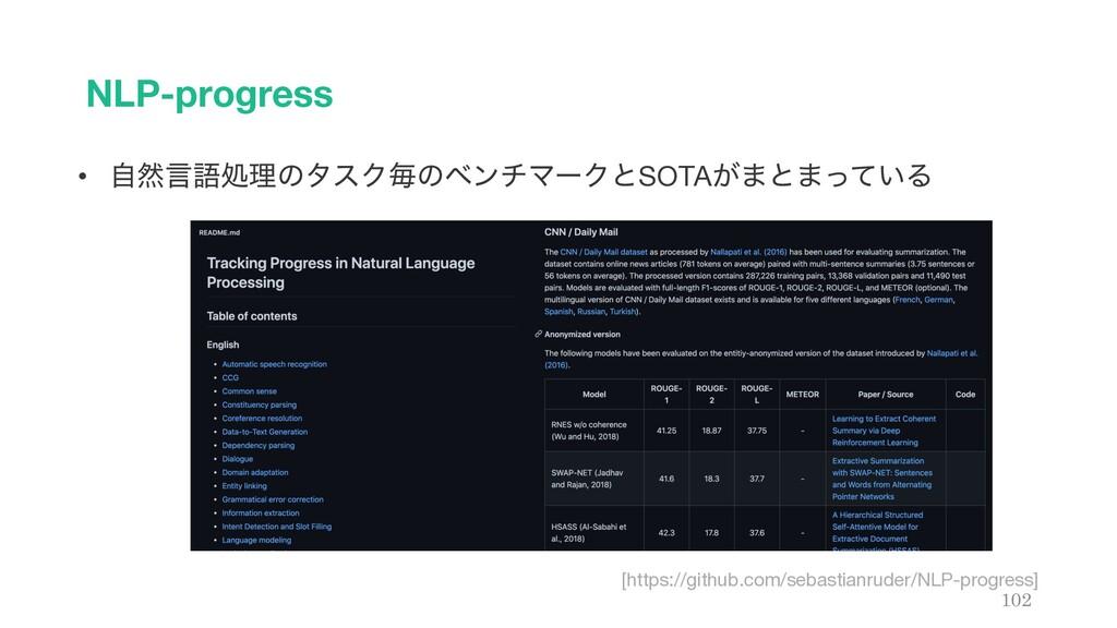 NLP-progress 102 • ࣗવݴޠॲཧͷλεΫຖͷϕϯνϚʔΫͱSOTA͕·ͱ·ͬ...