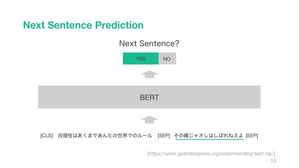 Next Sentence Prediction 15 ߹ཧੑ͸͋͘·Ͱ͋ΜͨͷੈքͰͷϧʔϧ...