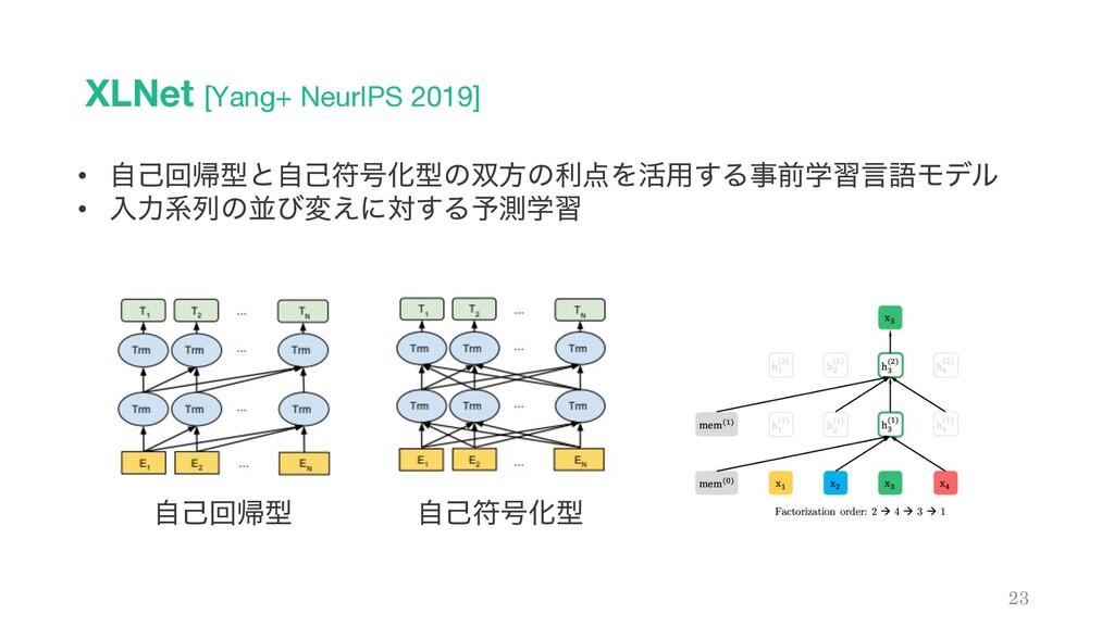XLNet [Yang+ NeurIPS 2019] 23 • ࣗݾճؼܕͱࣗݾූ߸Խܕͷํ...
