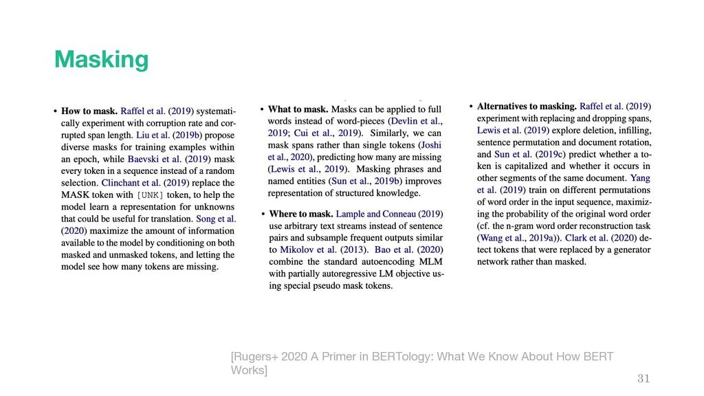 Masking 31 [Rugers+ 2020 A Primer in BERTology:...