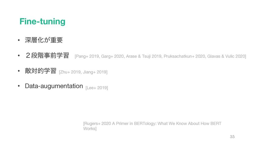 Fine-tuning 35 • ਂԽ͕ॏཁ • ̎ஈ֊લֶश • ఢରతֶश • Dat...