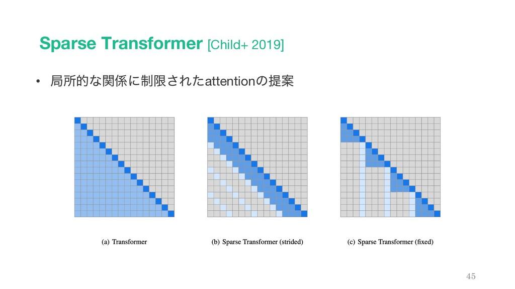 Sparse Transformer [Child+ 2019] 45 • ہॴతͳؔʹ੍ݶ...