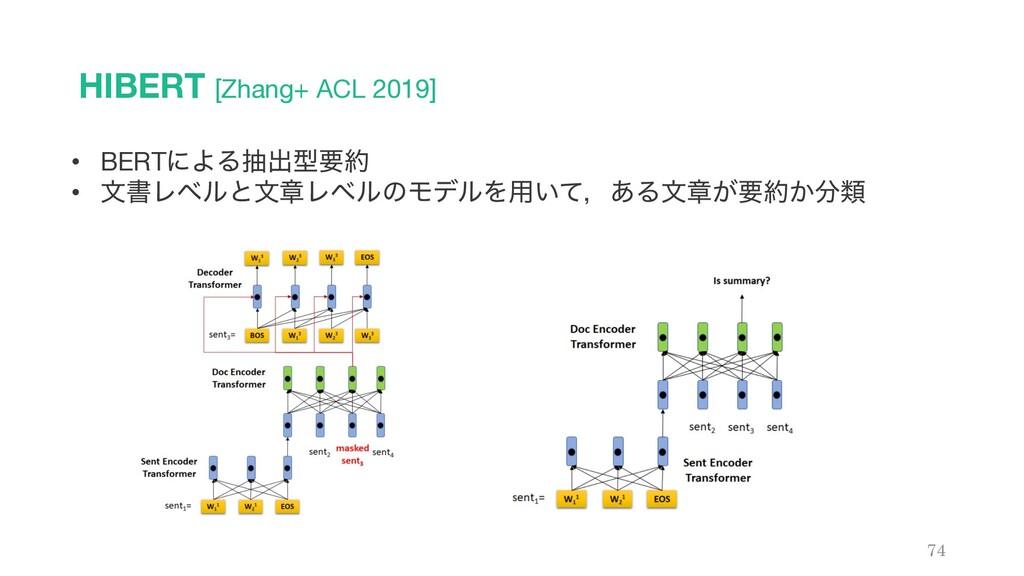 HIBERT [Zhang+ ACL 2019] 74 • BERTʹΑΔநग़ܕཁ • จॻ...