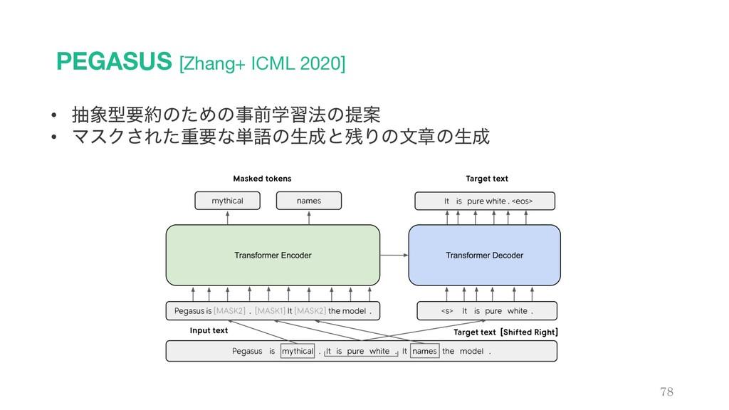 PEGASUS [Zhang+ ICML 2020] 78 • நܕཁͷͨΊͷલֶश๏ͷ...